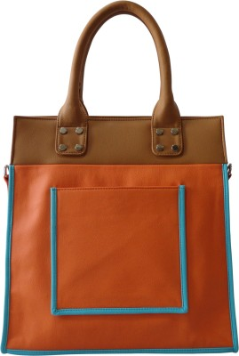 Toteteca Bag Works Tall Pocketed Tote Hand Bag - Orange::Turquoise