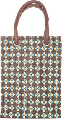 Diamond Jute Cottage Diamond Print Big Eyelet Hand-Held Bag (Brown)