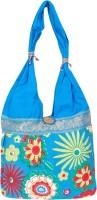 Womaniya Handicraft Flower Print Jhola Shoulder Bag Turquoise