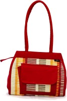 H2H Natural Straw Material With Cotton-R Shoulder Bag - Red