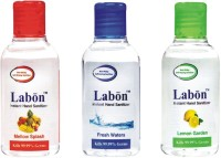 Labon Instant - Assorted Combo Pack Of 3 - 60 ML Fresh Waters, Lemon Garden & Mellow Splash (60 ML X 3 Packs) Hand Sanitizer (180 Ml)