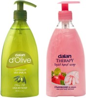 Dalan Liquid Soap Combo Pack Of D'Olive Pure Olive Oil Therapy Soap Of Strawberry & Milk Cream (800 Ml)