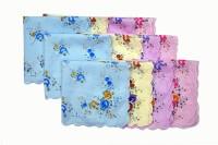 BelleGirl Women Multi Color Flower Print Large Handkerchief (Pack Of 12)