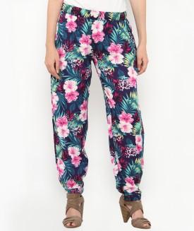 Philigree Floral Print Polyester Women's Harem Pants