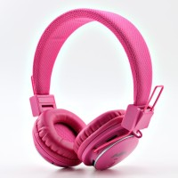 NIA Collapsible Micro SD Player FM Stereo Radio MP3 Player Headphones With Mic Stereo Dynamic Headphone Wireless Headphones (Pink, Over The Ear)