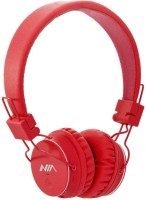 NIA Collapsible Micro SD Player FM Stereo Radio MP3 Player Headphones With Mic Stereo Dynamic Headphone Wireless Headphones (Red, Over The Ear)