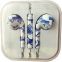 Karp Fancy Printed Designer Earphone For Apple IPhone/Android Mobiles/Tablets With Mic (Blue Flower) Wired Headset (Blue)