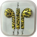 Karp Fancy Printed Designer Earphone For Apple IPhone/Android Mobiles/Tablets With Mic (Leopard Print) Wired Headset (Yellow)