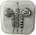 Karp Fancy Printed Designer Earphone For Apple IPhone/Android Mobiles/Tablets With Mic (Zebra Print) Wired Headset (Black)