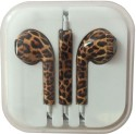 Karp Fancy Printed Designer Earphone For Apple IPhone/Android Mobiles/Tablets With Mic (Cheetah Print) Wired Headset (Coffe)
