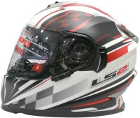 LS2 Ff302 DeCor Plaid Motorsports Helmet - L (White, Black, Red)