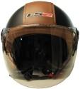 LS2 Beetle 560 Leather Finish Motorbike Helmet - L - Black, Brown