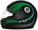 Vega Corah Cue Ball 8 Dull Motorbike Helmet - M (Black, Green)