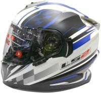 LS2 Ff302 DeCor Plaid Motorsports Helmet - L (White, Black, Blue)