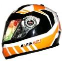 LS2 Voltage Motorbike Helmet - L - White, Orange, Black