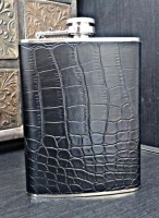 Pia International Croco Matt Stainless Steel Genuine Leather Hip Flask (236 Ml)