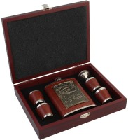 7Trees Jack Danices Stainless Steel / Faux Leather 8 Oz/236 Ml Hip Flask Set In Wooden Case - Hip Flask (236 Ml)