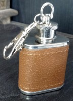 Pia International Stainless Steel Stainless Steel Genuine Leather Hip Flask (29 Ml)