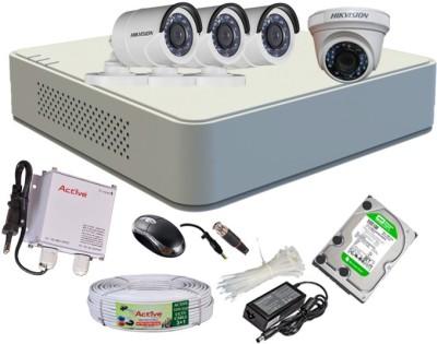 Hikvision HDTVI Full Combo, Turbo IR Bullet Camera 3Pcs & Dome Camera 1Pcs + Active Cable + F1 Mini DVR