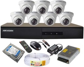 Hikvision DS-7208HGHI-E1 8-Channel Dvr , 7(DS-2CE56COT-IRF) Dome Cameras (With 1TB H.D,Mouse,Remote,Power Supply,BNC & DC Connectors,Cable)