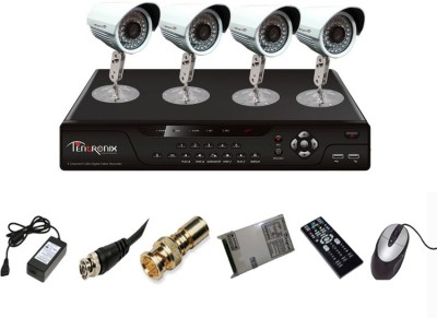 Tentronix T-4AVR-4-B10 4-Channel AHD DVR 4 (1MP 36 IR AHD) Bullet Cameras