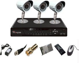 Tentronix T-4AVR-3-B13 4Channel AHD DVR + 3 (1 MP 36 IR) Bullet Cameras