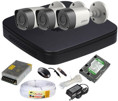 Dahua DH-HCVR4104C-S2 4-Channel Dvr , 3(DH-HAC-HFW1000RP-0360B) Bullet Cameras (With Mouse, Smps ,Copper Cable, 1 TB HDD,BNC)