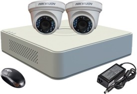 Hikvision DS-7104HGHI-E1 4-CH Turbo-Mini Dvr , 2(DS-2CE56C2T-IRB) Turbo Dome Cameras (With 1TB H.D,Mouse,Power Supply,BNC & DC Connectors,Cable)