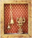 Adaa Natya Ganesh With Two Bells Brass Home Temple (Height: 14 Cm)