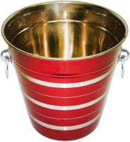 King Traders King Traders Stainless Steel Red Silver Lining Wine Bucket Stainless Steel Ice Bucket (Red 3.8 L)
