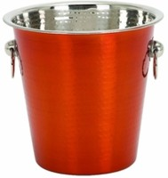 King Traders King Traders-Stainless Steel Red Coloured Champagne Bucket/ Wine Bucket/Ice Bucket-3850ml Stainless Steel Ice Bucket (Red 3.8 L)