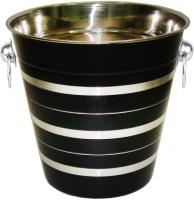 King Traders King Traders Stainless Steel Black Silver Lining Wine Bucket Stainless Steel Ice Bucket (Black 3.8 L)