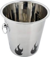 Montstar Champagne Bucket | Wine Cooler | Beverage Bucket In Full Matte Finish And A Black Flame Design - 21 X 21cm Stainless Steel Ice Bucket (Steel)