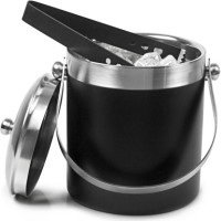 King Traders Black Stainless Steel Ice Bucket (Black 1.7 L)