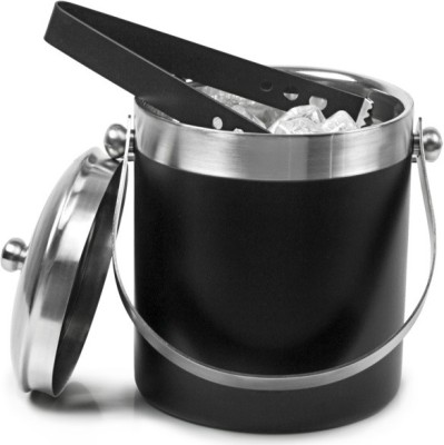King Traders Black Stainless Steel Ice Bucket (Black 1.7 L)
