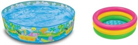 Jainsoneretail Intex 5 Feet Sunset Pool & 3 Feet Water Bath Tub Inflatable Combo
