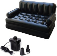 IBS Airsofa Cum Bed 5 In 1 PVC Air Multipurpose Black PP Doublebed Booster Kids Sleeping Mattress Travel Lounge Seat Couch Carbed With Free Electric Pump PP 3 Seater Inflatable Sofa (Color - Black)