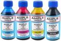 Ample India 100ML Compatible For Epson L100,L110,L200,L210,L300,L350,L355,L550,L555 Black,Yellow,Magenta & Cyan Ink (Black, Yellow, Magenta, Cyan)