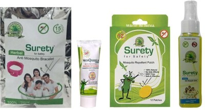 Surety For Safety Herbal Anti Mosquito Bracelet Pink + MosQshield Cream + Mosquito Repellent 12 Patch + Anti Mosquito Spray + After Bite Spray (Pack Of 5)