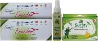 Surety For Safety Freedom (Pack Of 2) + Herbal Anti Mosquito Spray + Mosquito Repellent 20Patch (Pack Of 4)