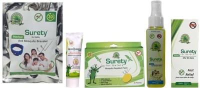 Surety For Safety Herbal Anti Mosquito Bracelet Blue + MosQshield Cream + Mosquito Repellent 20 Patch + Anti Mosquito Spray + After Bite Spray (Pack Of 5)
