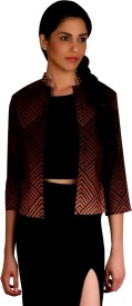 PRINTALK 3/4 Sleeve Geometric Print Women's Jacket