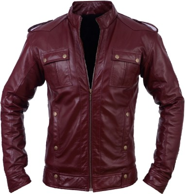 Real Glam Kills Biker Full Sleeve Solid Men's 100 % Real Leather Jacket (Red)