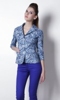Thegudlook 3/4 Sleeve Printed Women's Shell Jacket