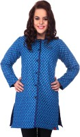 Lavennder Full Sleeve Printed, Solid Reversible Women's Quilted Jacket