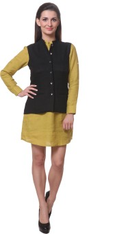 Yell Nehru Sleeveless Solid Women's Woven Linen Jacket