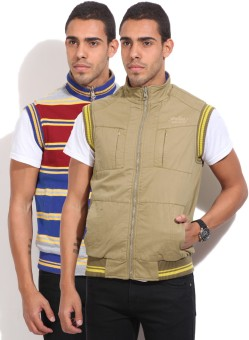 Fort Collins Sleeveless Self Design Men's Reversible Jacket Jacket