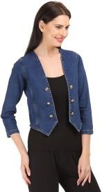 Beautic 3/4 Sleeve Self Design Women's Denim Jacket