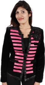 GnC Full Sleeve Striped Women's Velvet Jacket
