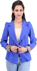 Sheezworld Full Sleeve Solid, Animal Print Women's Cropped Jacket